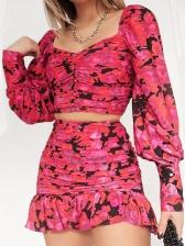 Ruched Lantern Sleeve Ruffle Two Piece Skirt Set