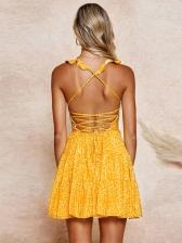 Open Back Crisscorss Dots Slip Sundress