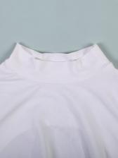 Mock Neck Long Sleeve Backless White T-shirt