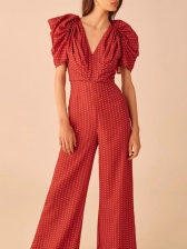 Boutique Puff Sleeve Wide Leg Polka Dot Jumpsuit