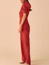Boutique Puff Sleeve Wide Leg Polka Dot Jumpsuit