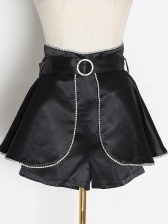 Boutique Rhinestone Decor Wide Leg Skort