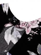 Open Back Tie-Wrap Flower Pattern Ladies Dress