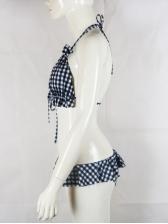 Halter Backless Plaid Bikini 2 Piece Swimsuit