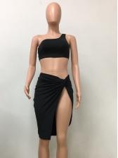 Irregular Incline Shoulder Solid Tank Top Swimsuit