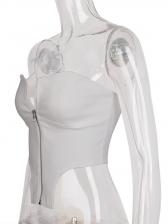 Notch Collar White Front Zipper Bustier Top