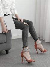 Rhinestone Stiletto Ankle Strap Sandals