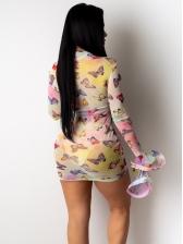Flare Sleeve Print See Through Dress