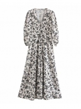 Puff Sleeve White Floral Maxi Dress For Summer