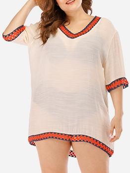 Crochet Patchwork Beach Wear Short Sleeve Summer Dresses