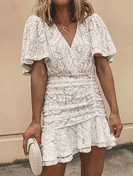 V Neck Ruffled Short Sleeve White Lace Dress