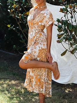 Bohemian Asymmetric Ruffled Hem Summer Maxi Dresses