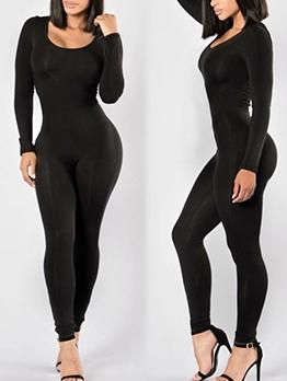 U Neck Long Sleeve Solid Skinny Jumpsuit