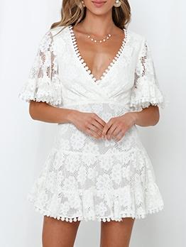 V Neck Short Sleeve Lace a Line Dress