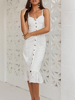 Graceful Single-Breasted Ruffled Hem Midi Dress