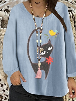 Crew Neck Cat Pattern Spring Oversized T Shirt