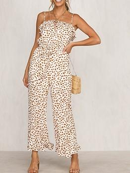 Sleeveless Leopard Printed Wide Leg Jumpsuit
