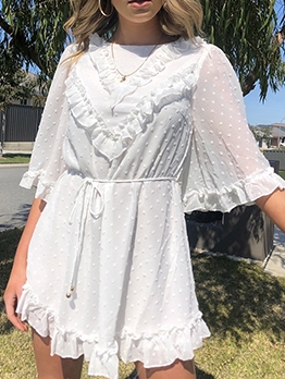 Casual Stringy Selvedge Chiffon Summer Dresses