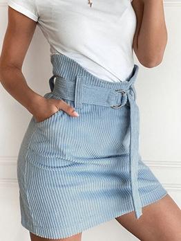 Casual Pocket Blue High Waisted Skirt