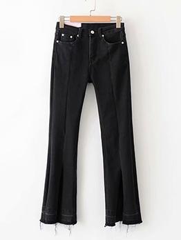 High Elastic Tassel Hem Black Jeans