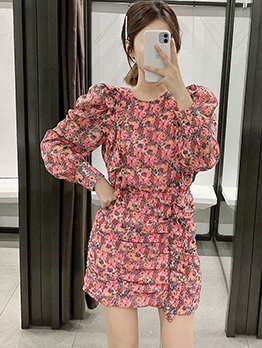Puff Sleeve Floral Mini Dress For Women