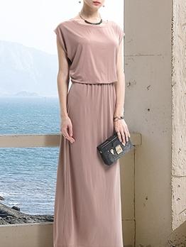 Casual Solid Ladies Summer Maxi Dresses