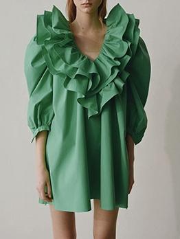 Fashion Ruffle Detail Puff Sleeve Green Dress