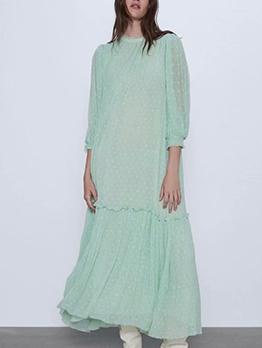 Large Hem Embroidery Thin Green Maxi Dress