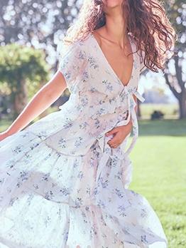 Vacation Butterflies Print Short Sleeve Midi Dress