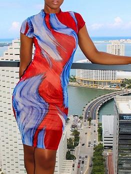 Euro Contrast Color Printed Short Sleeve Summer Dresses