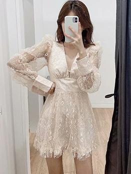 Vacation Style v Neck Long Sleeve Lace Dress