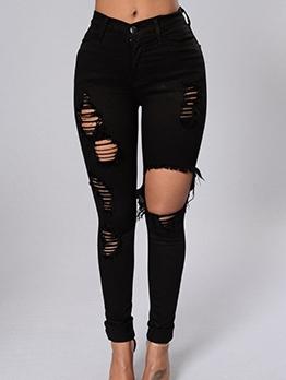Chic Mid Waist Skinny Distressed Jeans