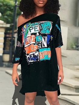 Inclined Shoulder Letter Pattern t Shirt Dress