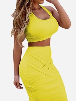 Summer Skinny Solid U Neck Crop Top And Skirt Set