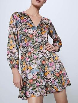 Loose v Neck Flower Printing Long Sleeve Dress