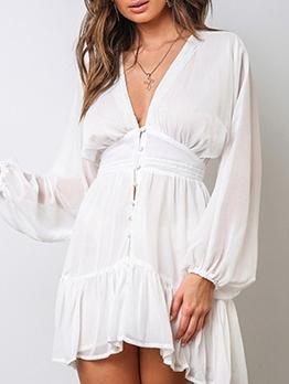 See Through v Neck Long Sleeve Dress
