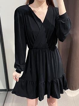 V Neck Long Sleeve Black Ladies Dress
