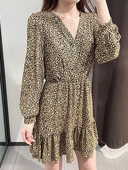 Lantern Sleeve Yellow Leopard Print Dress