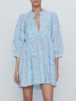 V Neck Blue Print Long Sleeve Short Dress