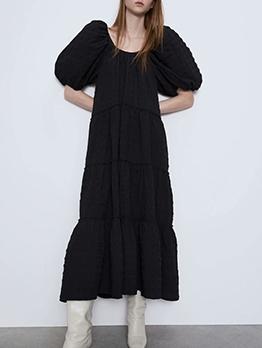 Crew Neck Lantern Sleeve Loose Black Maxi Dress
