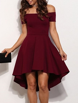 Boat Neck Solid Fit And Flare Cocktail Dress