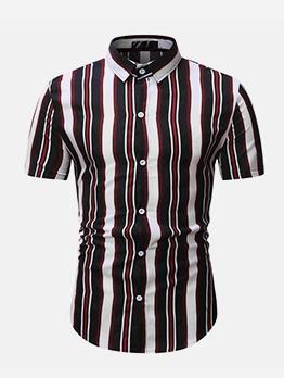Casual Button Down Short Sleeve Striped Shirt