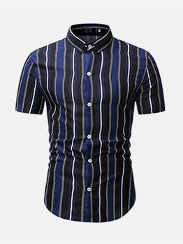 Leisure Color Block Short Sleeve Striped Shirt