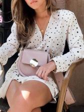 Fashion Polka Dots v Neck Ladies Wrap Dress