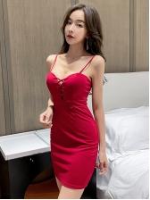 Cross Belt Low-Cut Solid Sleeveless Sheath Dress