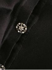 Ruffled Flare Sleeve Short Black Coat