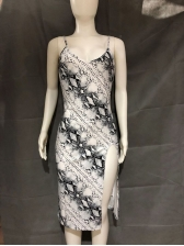 Open Back Snake-Skin Print Slit Ladies Dress