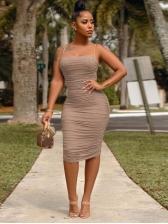 Sexy Sleeveless Draped Bodycon Dress For Club