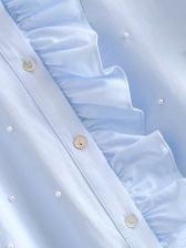 Ruffled Beading Blue Blouses For Women
