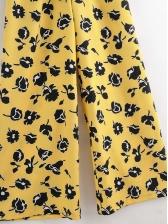 Contrast Color Printed Short Sleeve Wide Leg Jumpsuit